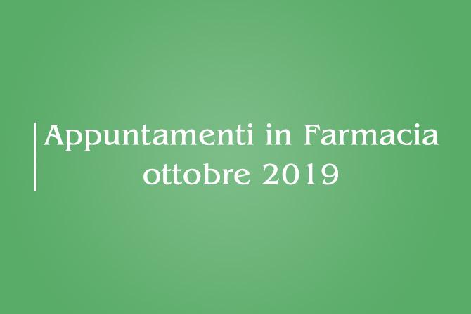 Appuntamenti di Ottobre 2019 – Farmacia della Salute
