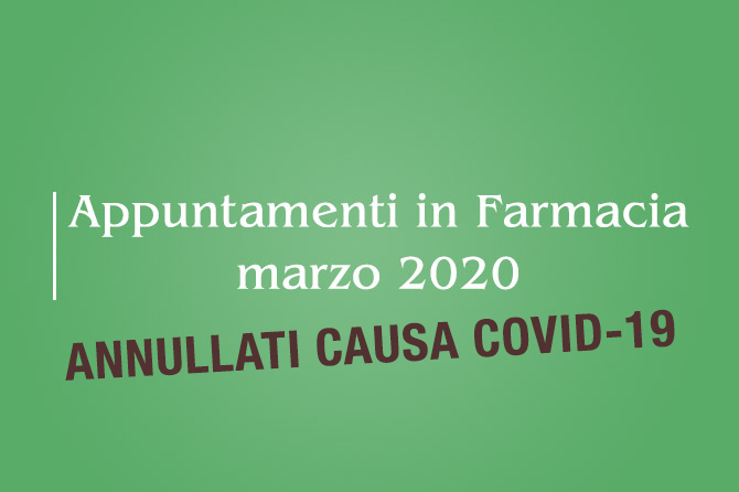 Appuntamenti di Marzo 2020 ANNULLATI – Farmacia della Salute
